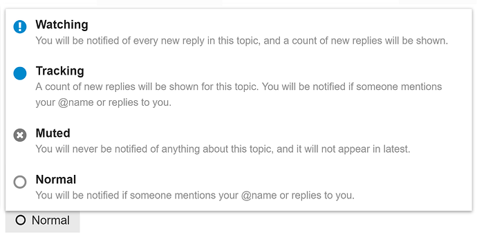 topic notification control in Discourse